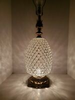 Vtg Mid Century Beveled Optic Glass & Brass Hollywood Regency Table Lamp