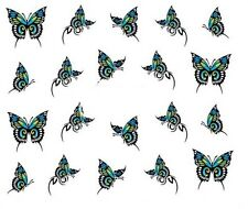 Nail Art Decals Transfers Stickers Turquoise Butterflies (A-351)