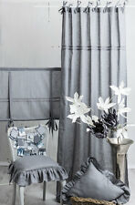 JULIA FROST GRAU 2x(120x250cm) Gardine Vorhang Raffgardine Landhaus Shabby NEU