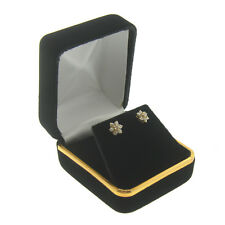 Black Velvet Stud Earring Box Display Jewelry Gift Boxes Gold Trim 1 Dozen