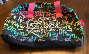 JUSTICE Girl's Dance Gymnastics Sleepover Duffle Bag Multi-colored Hot Pink