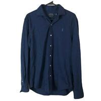 Polo Ralph Lauren Knit Dress Shirt Mens Medium Navy Blue Button Up Cotton Euc