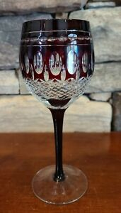 VINTAGE CRYSTAL RUBY RED CUT TO CLEAR THUMBPRINT WINE GLASS HOCK GOBLET