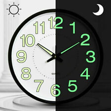 12' Luminous Wall Clock Glow In The Dark Silent Quartz Indoor Outdoor Home Uk
