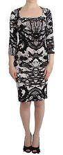 NEW $550 JUST CAVALLI Printed Sheath Dress Wiggle Pencil 3/4 Sleeve IT38/US4