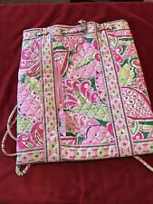 Vera Bradley Drawstring Backpack Bag, Pink/Green/White, Tenderly Used If At All!
