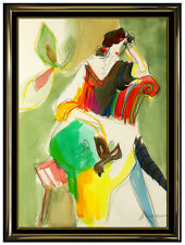 Isaac Maimon Original Watercolor Painting Female Portrait Cafe Signed Artwork