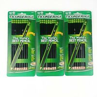 Ticonderoga Black Premium Wood Sharpened HB #2 Pencils #13915 Lot of 3 Packs 30