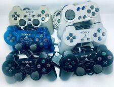 Sony Playstation 2 PS2 Controller Lot PS1 Remote Controllers Grey - Set of 6