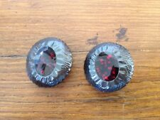 Vintage Ruby Red Sparkle Brown Gunmetal Textured Metal Shank Buttons 2.5cm