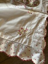 Vintage Floral Embroidered Swiss Dot Sham Pillowcase 🌺