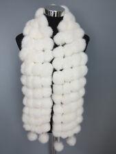 Handmade100%Genuine rabbit fur pom pom scarf/ fur cape/ wrap white