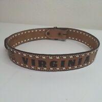 Vintage Browning Western Cowboy Size 38 Belt Leather Buckle Virginia USA 8527