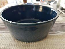 Blue Vintage Ceramic Stoneware Terrine Pate Bowl Pot 8in Dia 3in Deep