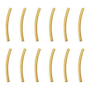 200pc Brass Tube Beads Smooth Curved Nickel Free Golden Jewelry Findings 25mm
