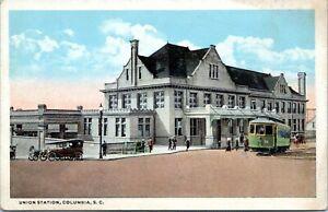 Columbia South Carolina Postcard c.1920 Union Train Station Trolley MW