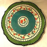 "Tabletops Unlimited Bombay Pattern Dinner Plate 11"" Red Tulips White Green Black"