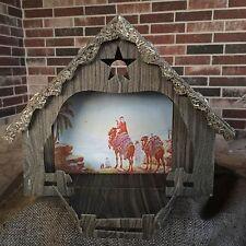 Vintage Large Cardboard,Straw Nativity Scene Manger Creche Stable,Mural in Back