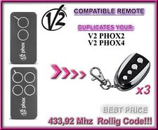 3 X V2 PHOX2, V2 PHOX4 compatibile radiocomando telecomando, 433.92MHz clone