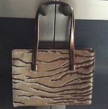 LAMBERTSON TRUEX Brown+Beige Pony Hair Zebra Print Metallic Gold Leather Handbag