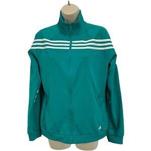 Adidas Womens Jacket Medium Full Zip Sports 3 Stripe Activewear Blue Green