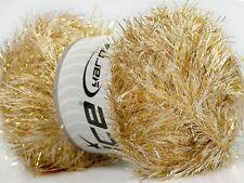 100 Gram EYELASH DAZZLE YARN - CREAM GOLD #42668 Ice Metallic Fun Fur 153 yds
