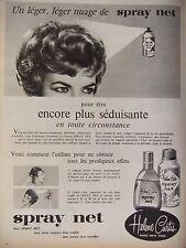 PUBLICITÉ 1959 SPRAY NET HELENE CURTIS CHEVEUX BIEN COIFFÉ - ADVERTISING