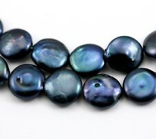 13-14mm Navy Blue Coin Flat Round Disc Freshwater Pearls Beads Jewellery Making