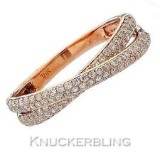 Pave Diamond Double Band Shaped Wedding Ring 0.50ct F VS in 18ct Rose Gold