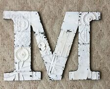 """Large Antique Tin Ceiling Wrapped 16"""" Letter 'M'' Patchwork Metal White 92-18"""
