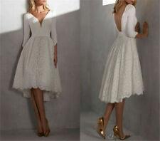 New Short Wedding Dress V Neck 3/4 Sleeve Satin Lace Bohemian Beach Bridal Gown