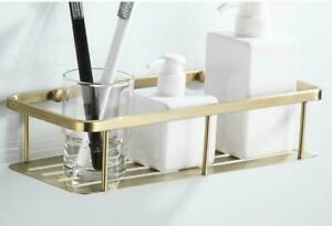 Wall Mounted Brushed Gold Bath Brass Shower Caddy rectangle Storage Shelves
