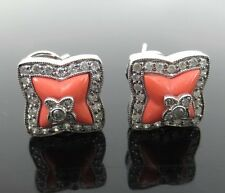 Fine Diamond & Carved Coral 14K White Gold Square Pierce Clip Earrings