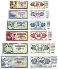 YUGOSLAVIA - Lotto 6 banconote 10/20/50/100/500/1000 dinara FDS - UNC