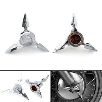 Chrome Spun Blade Spinning Front Axle Cap Nut Cover For Softail Touring F