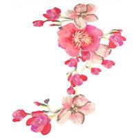 Blühen Nähen Stoff Stickerei Applikation Kleidung Lange Blume Aufkleber DIY Kit