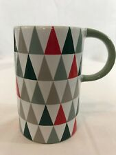 Starbucks 12 Oz Coffee Tea Mug Christmas Tree Triangle Holiday 2017 Red & Green