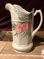 """Vintage Hand Painted Porcelain Pink Floral & Green Leaf Pitcher 9 3/4""""x7 1/4"""""""