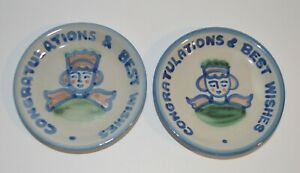 M A HADLEY POTTERY - CONGRATULATIONS & BEST WISHES - COASTERS TRINKET DISH PLATE