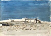 Karl Adser 1912-1995 Verlassene Hütte Djerba Wüste Tunesien Nordafrika 1973