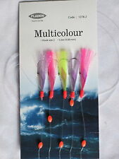 6 Packs Feather Flash Multicolour 5 hook size 2 fishing mackerel lures sea cod