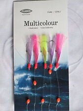 25 Packs Feather Flash Multicolour 5 hook size 2 fishing mackerel lures sea cod