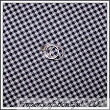 BonEful Fabric Cotton Quilt B&W Black White Gray Gingham Check Stripe Sale SCRAP