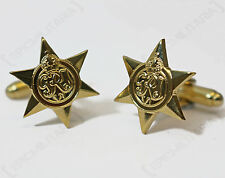 WW2 Style BRITISH STAR BRASS CUFFLINKS - Army Military Award Medal Badge Pin
