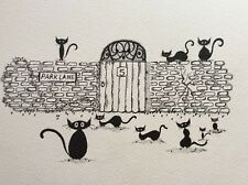 Personalised address Cat Picture, Original not a print or copy.