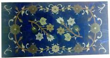 "18""x36"" Bule Design Decorative Marble Dining Table Top Floral Inlay Work"