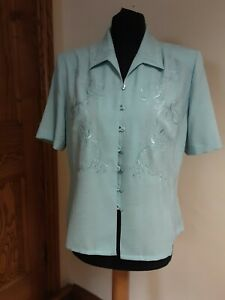 Eastex vintage pale blue, short sleeve, button loop, embroidered blouse size 12