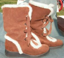 Aerosoles Boots shoes size 7, 7.5 brown tan leather suede faux fur Calf $237 New
