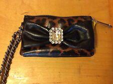 $155 Brighton Leopard Print Haute Socialite Pouch w/Black Bow and Jewel US11