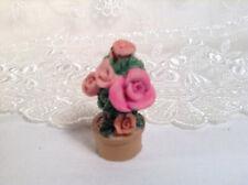 Resin Handpainted Dollhouse Pink Roses Flower Pot 1''